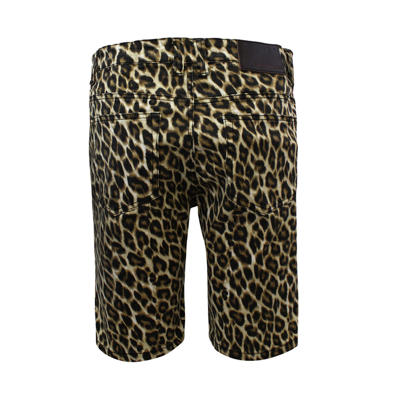 LEOPARD PRINT SHORTS - BROWN