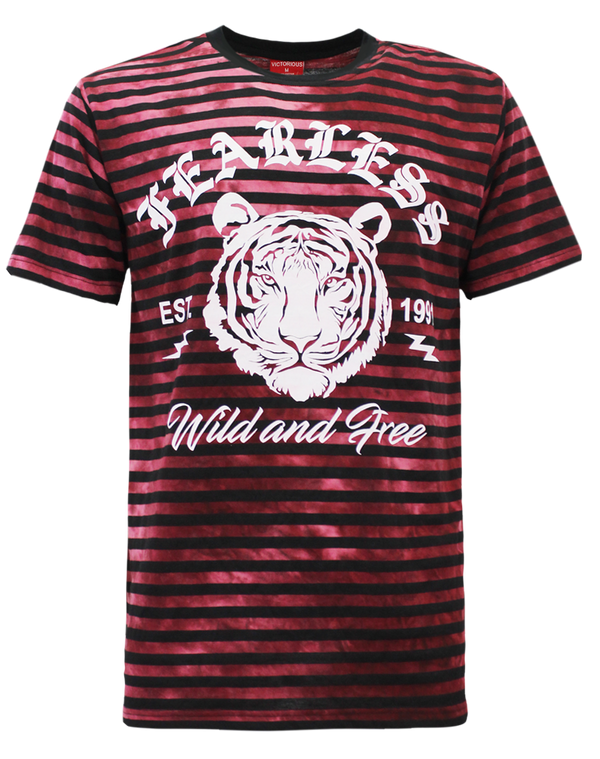 HORIZONTAL TIE DYE TIGER T-SHIRT - BURGUNDY
