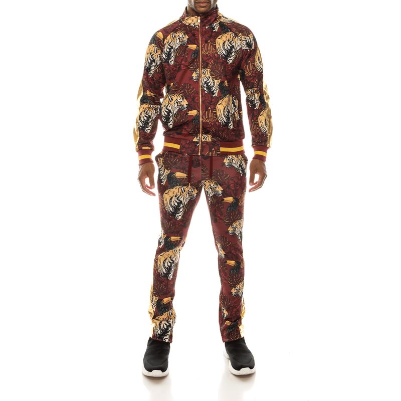 JUNGLE TIGER TRACK SUITS - BURGUNDY