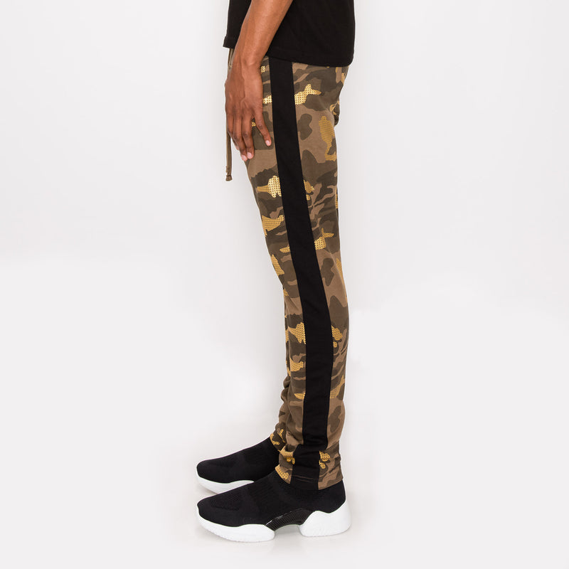 Slim Fit Gold Foil Camo Track Pants - GOLD CAMO