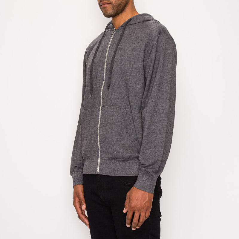 FRENCH TERRY ZIP DOWN HOODIE - CHARCOAL