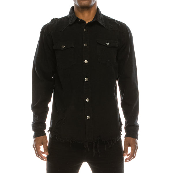 RIPPED DENIM OVERSHIRT - BLACK