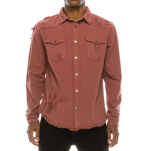 RIPPED DENIM OVERSHIRT - BRICK
