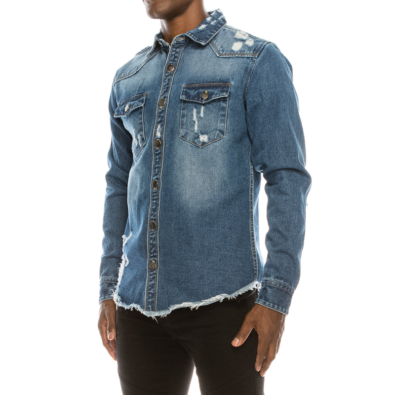 RIPPED DENIM OVERSHIRT - INDIGO