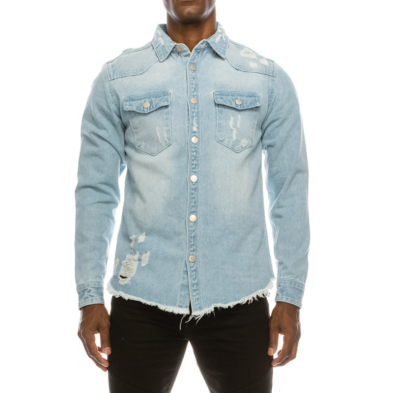 RIPPED DENIM OVERSHIRT - LT INDIGO