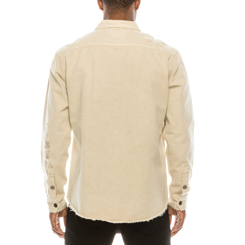 RIPPED DENIM OVERSHIRT - SAND
