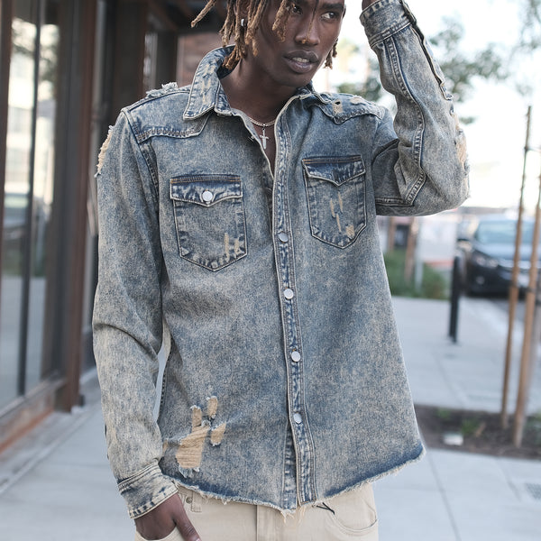 RIPPED DENIM OVERSHIRT - VINTAGE
