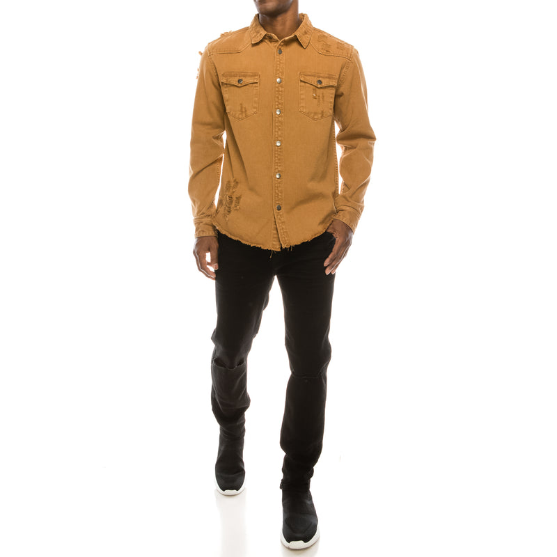 RIPPED DENIM OVERSHIRT - WHEAT