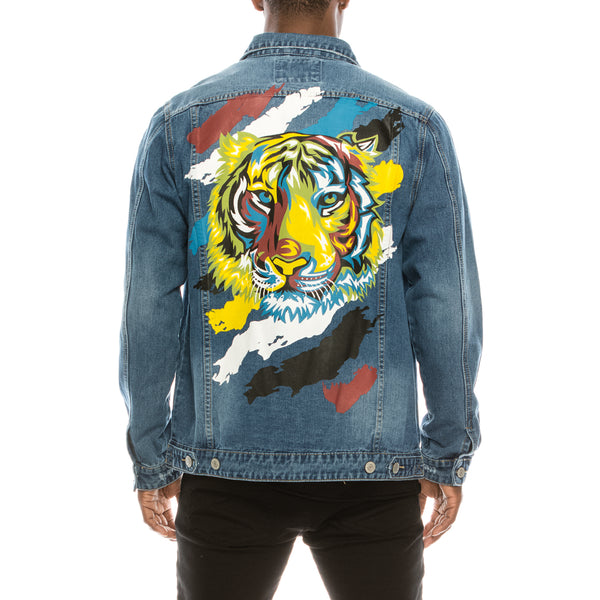 COLORFUL TIGER DENIM JACKET - INDIGO