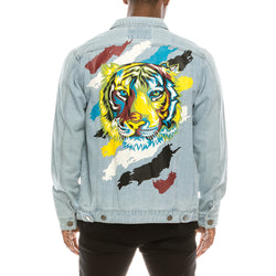 COLORFUL TIGER DENIM JACKET -LT INDIGO