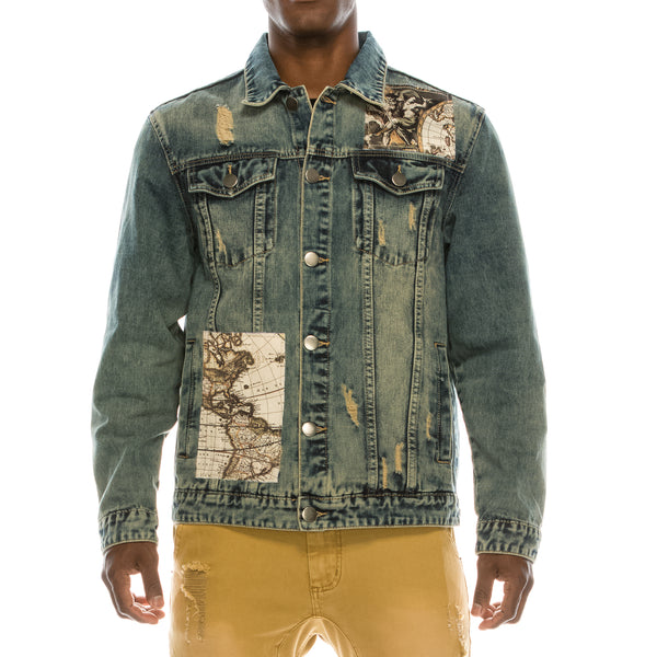 WORLD HISTORY DENIM JACKET - DESERT BLUE