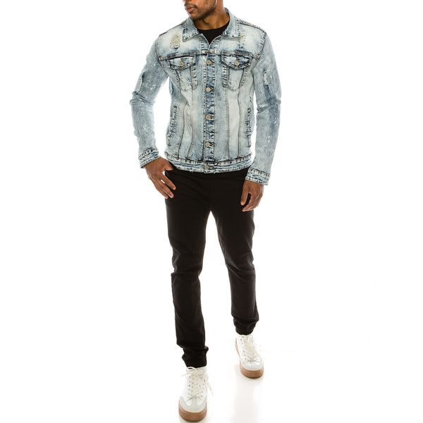 DISTRESSED DENIM JACKET - GLACIER BLUE