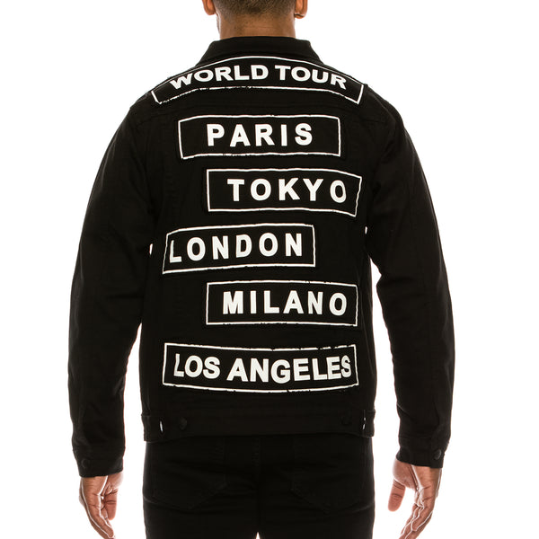WORLD TOUR COLORED DENIM JACKET -  BLACK