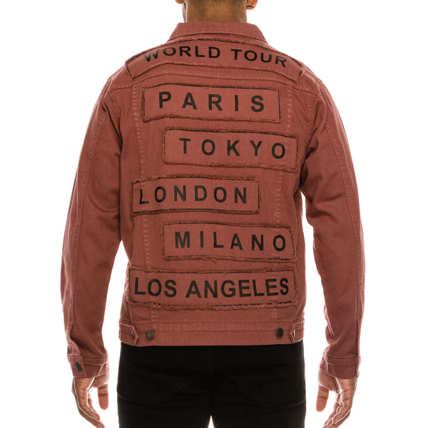 WORLD TOUR COLORED DENIM JACKET -  BRICK