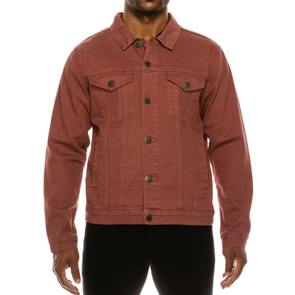 MEN ESSENTIAL COLORED DENIM JACKET-BRICK