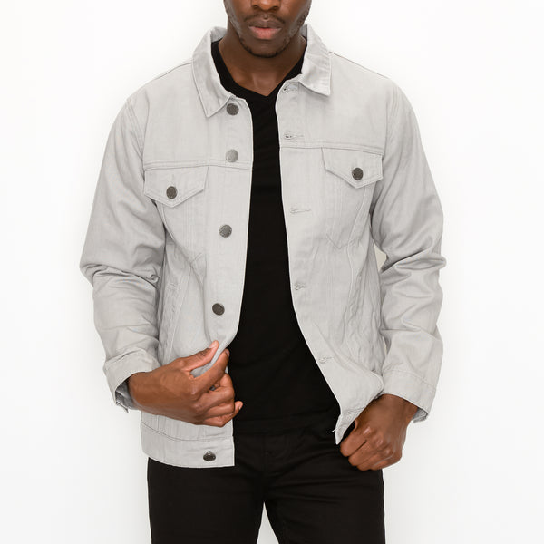 MEN ESSENTIAL COLORED DENIM JACKET-GREY