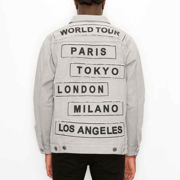 WORLD TOUR COLORED DENIM JACKET -  GREY