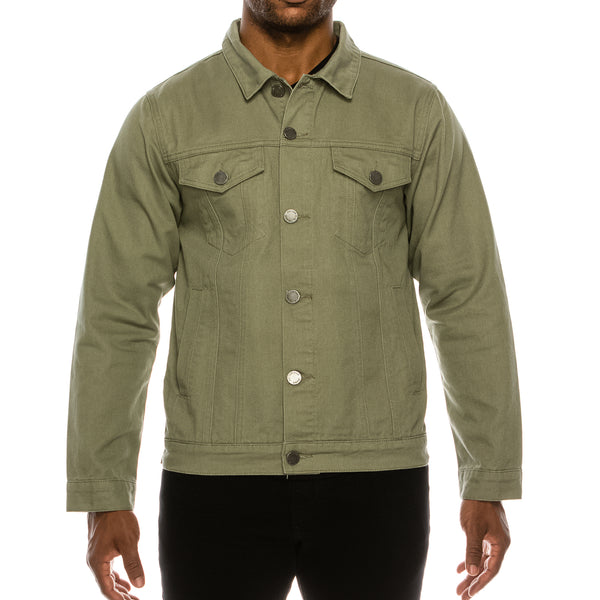MEN ESSENTIAL COLORED DENIM JACKET-JADE