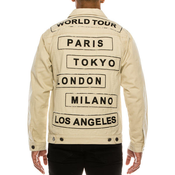 WORLD TOUR COLORED DENIM JACKET -  SAND