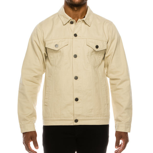 MEN ESSENTIAL COLORED DENIM JACKET- SAND