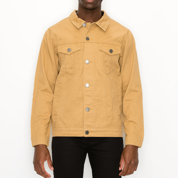 MEN ESSENTIAL COLORED DENIM JACKET- WHEAT