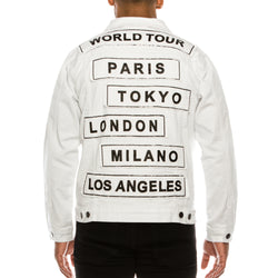 WORLD TOUR COLORED DENIM JACKET -  WHITE