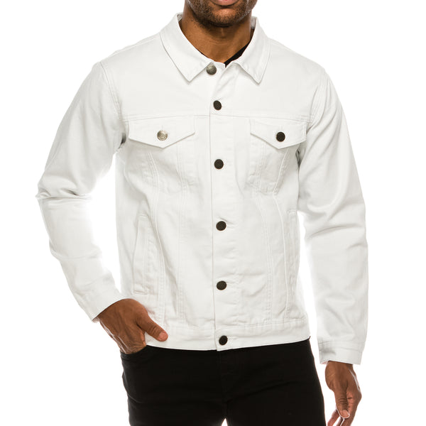 MEN ESSENTIAL COLORED DENIM JACKET-WHITE