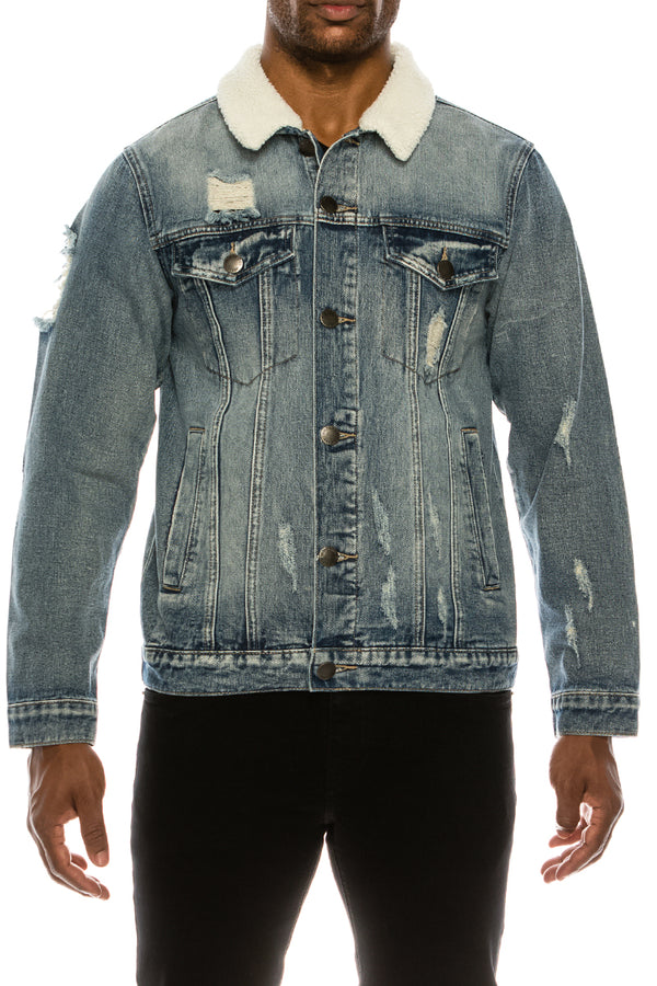 DISTRESSED SHERPA DENIM JACKET - INDIGO