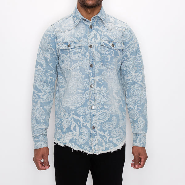 BANDANA DISCHARGE DENIM OVERSHIRT