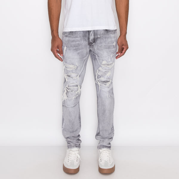 RIP & REPAIR DENIM JEANS - GREY
