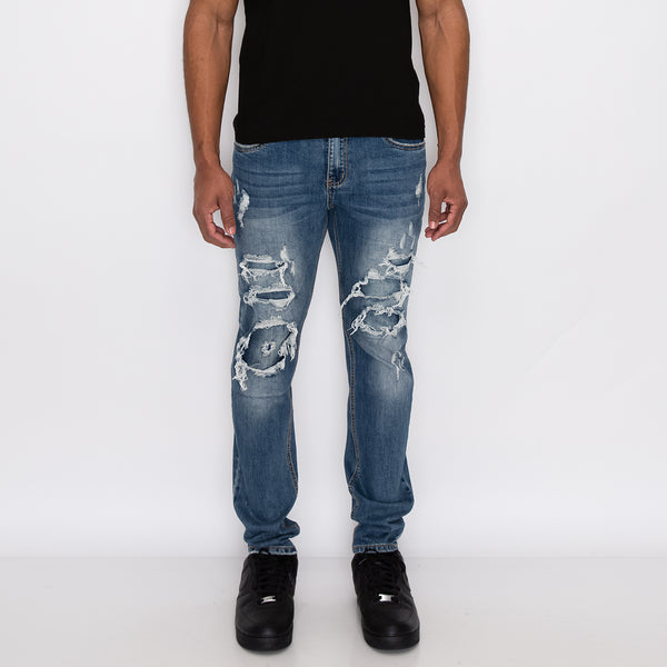 RIP & REPAIR DENIM JEANS - INDIGO