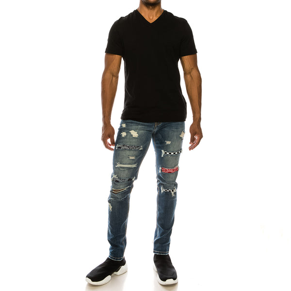 BANDANA MIX REPAIR JEANS - INDIGO