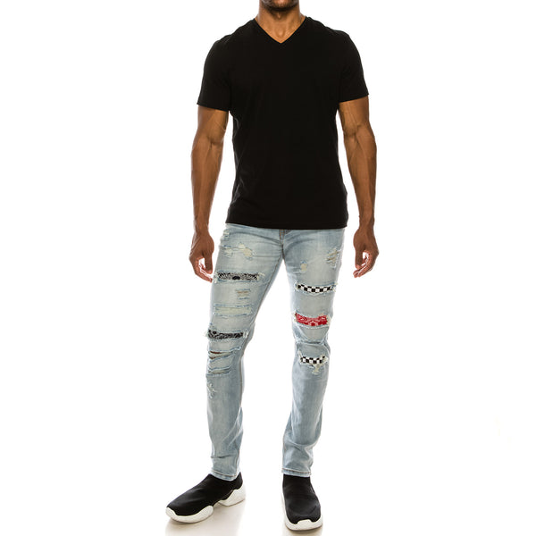 BANDANA MIX REPAIR JEANS - LT INDIGO