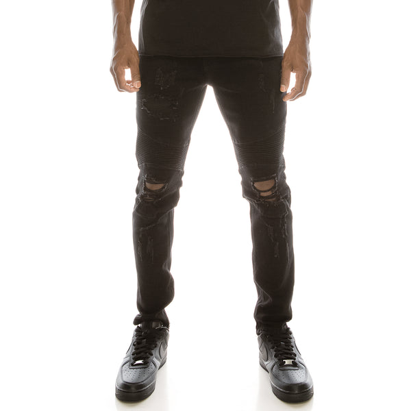 BIKER DENIM JEANS - BLACK