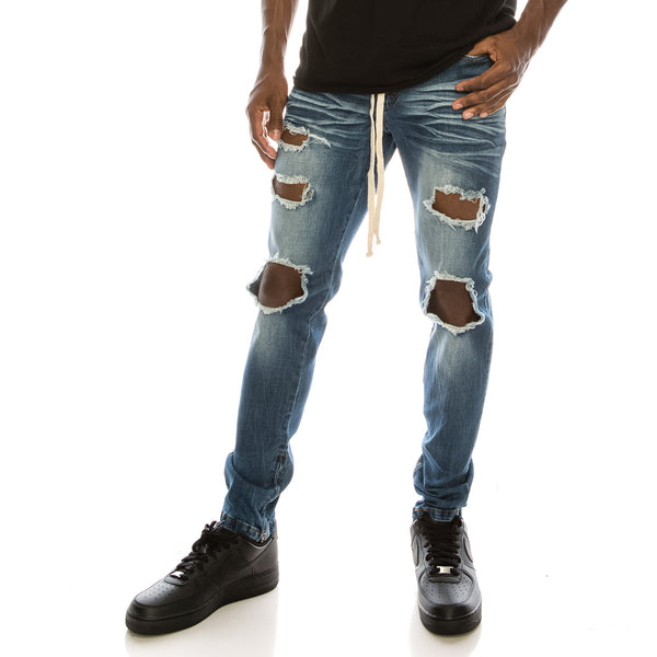 DISTRESSED DENIM JEANS - INDIGO