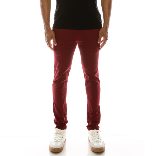 ESSENTIAL  CHINO PANTS  - BURGUNDY