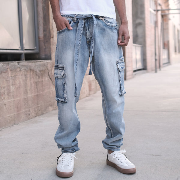 BAGGY DENIM CARGO PANTS  - INDIGO