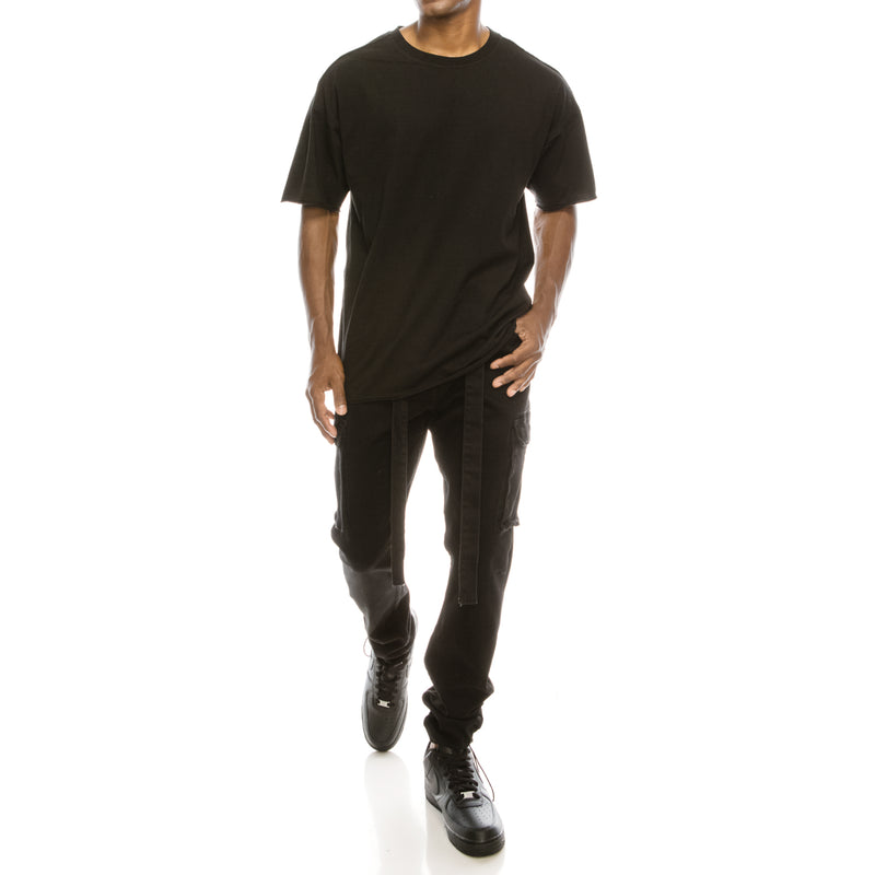 BAGGY COLOR CARGO PANTS  - BLACK