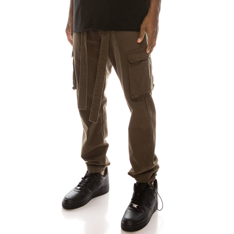 BAGGY COLOR CARGO PANTS  - OLIVE