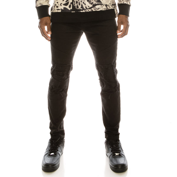 DISTRESSED COLOR MOTO JEANS - BLACK