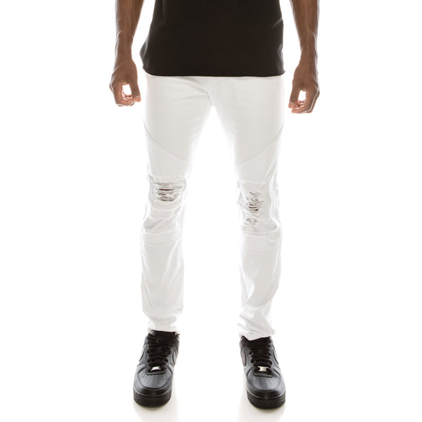 DISTRESSED COLOR MOTO JEANS - WHITE