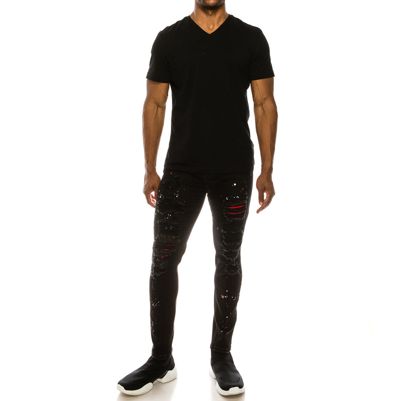 NEON PAINTED SPLITTER DENIM JEANS - BLACK