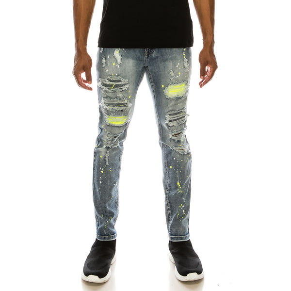 NEON PAINTED SPLITTER DENIM JEANS - INDIGO