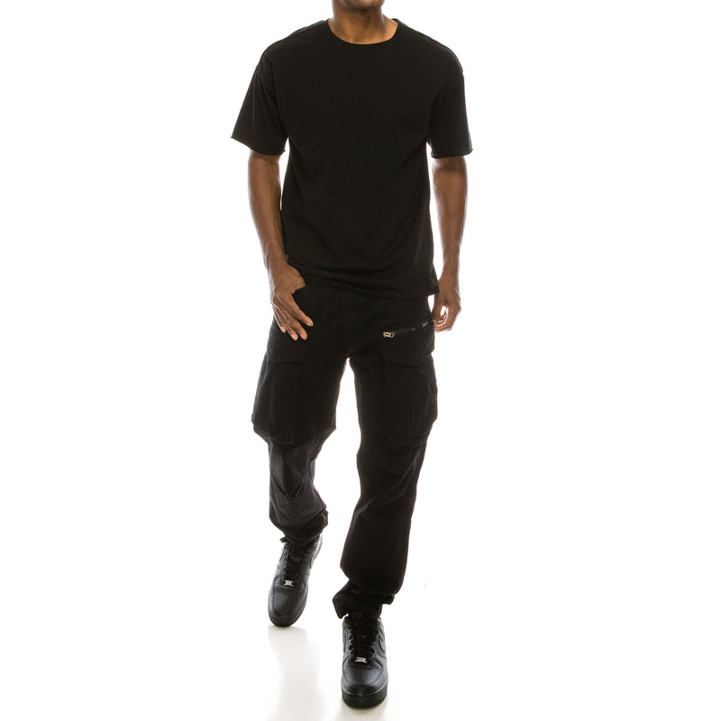 BIG CARGO ZIPPER COLOR PANTS - BLACK
