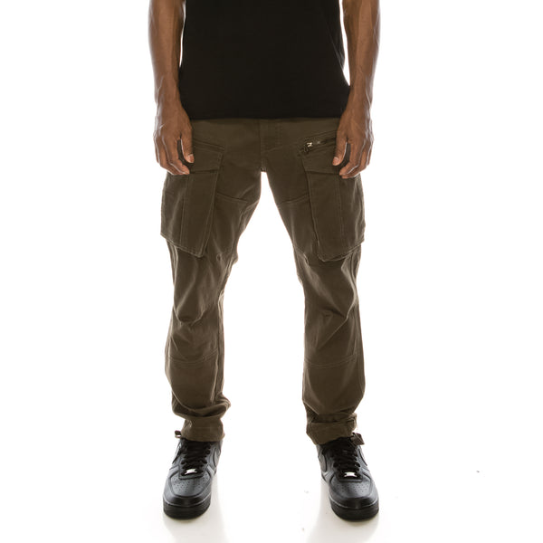 BIG CARGO ZIPPER COLOR PANTS - OLIVE