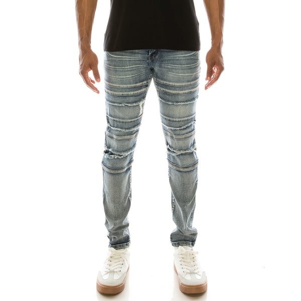 DISTRESSED PANEL DENIM JEANS - INDIGO