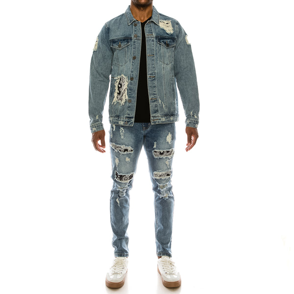 DISTRESSED BANDANA DENIM JEANS - INDIGO