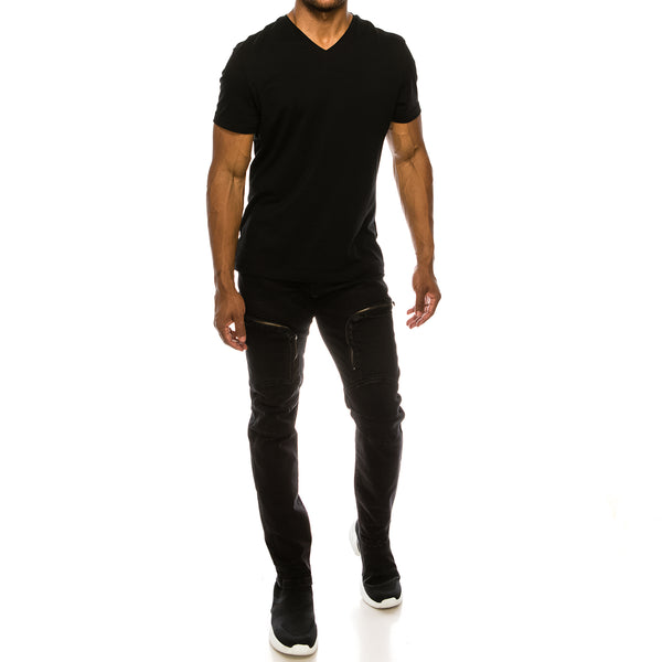 MOTO CARGO DENIM JEANS - BLACK