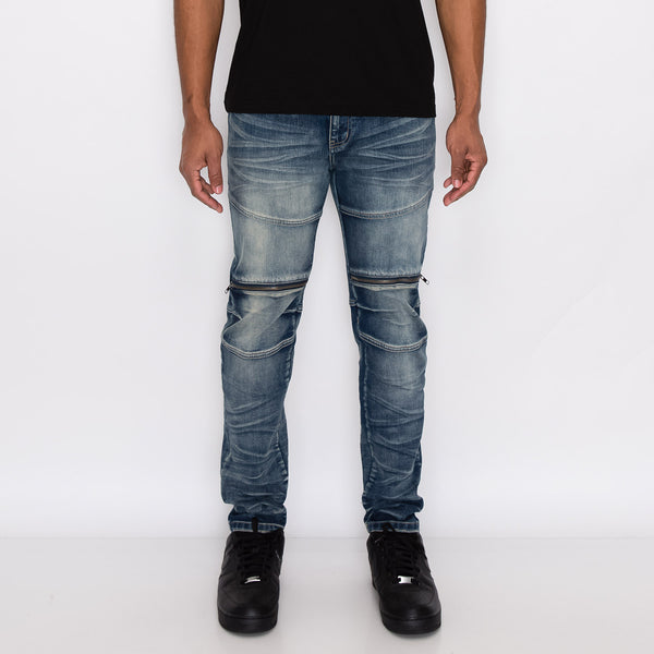 MOTO ZIPPER DENIM JEANS - INDIGO