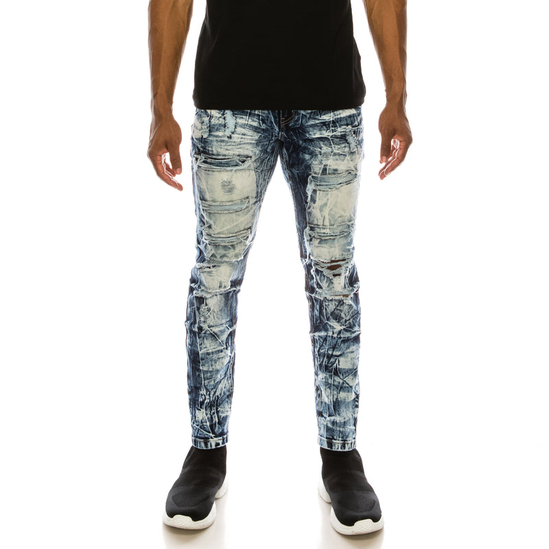 BLUE ICE WASH DENIM JEANS - BLUE ICE